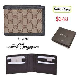 082e17435c22 READY STOCK authentic new Gucci men wallet Style 278596 Ebony Beige Canvas  Textured brown signature