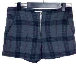 Mango Casual sz XS grey black plaid check women shorts zip front cute basic