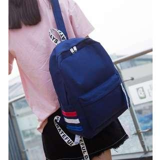 韓版可愛雙肩包潮原宿風字母飄帶小清新學院風帆布包