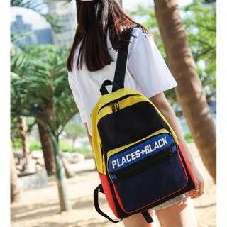 新款網布字母雙肩包男女書包防水多用包包