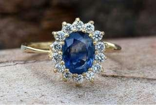 Diamond ring with Sapphire-Blue Sapphire-1 ct Blue Sapphire Engagement Ring-Yellow Gold Engagement Ring -Diana Ring-Anniversary ring-For her.