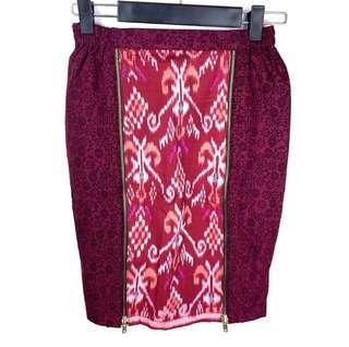 Indonesian Batik sz XS/S red maroon aztec bali women skirt zip front traditional