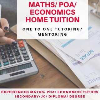 POA Tuition | JC1 JC2 H1 H2 JC Economics | IB Econs Private Tutor | Secondary School Level | 1 to 1 N O Maths level Tuition | Diploma Degree Tuition | Uni Tutor | One to One Mathematics Home Tuition | Statistics | Accounting | Accounts Tuition Teacher