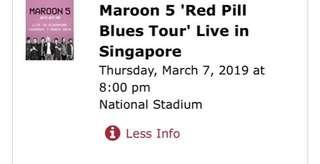 Maroon 5 Proity Tickets which already sold out