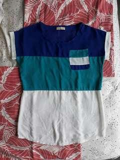 Blue and White Pocket Blouse