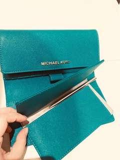 🚚 下殺!MK 子母皮夾 藍綠色 正品