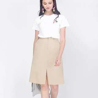 ACW Khaki Belted Brown Camel Midi Cargo Skirt