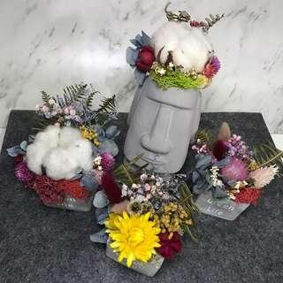 [花好玥圓]✨乾燥花束 乾燥花花盆 摩艾花盆 水泥方盆 花盆 乾燥花 巨石像 聖誕禮物 交換禮物 辦公室小物 情人節禮物
