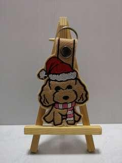 Christmas Poodle keychain
