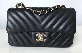 #26 Chanel Chevron Quilted Classic Mini Rectangle