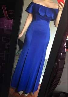 Royal Blue Off-Shoulder Semi-Formal Gown