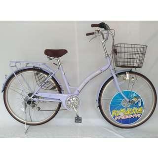 (2) 進口 日本 馬卡龍薰衣草 淑女車26吋shimano六段變速腳踏自行車 與日本市場同步