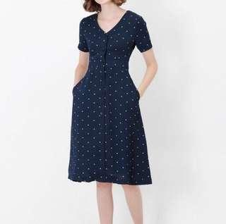 AFA Polka dot Button down Midi dress Size S