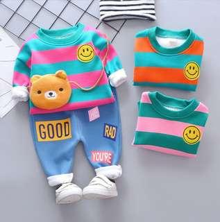 🚚 🌟PM for price🌟 🍀Baby Girl Boy Stripes Long Sleeves Top+Pants 2pcs Set🍀