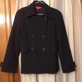 Women Black Pea Coat Size 42 (10-12)