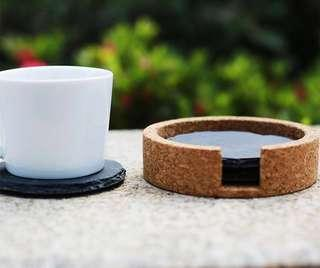 Round Black Slate Coasters with Cork Casing (Set of 3)