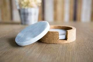 Round Marble Coasters with Cork Casing (Set of 2)