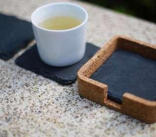 Square Black Slate Coasters with Cork Casing (Set of 3)
