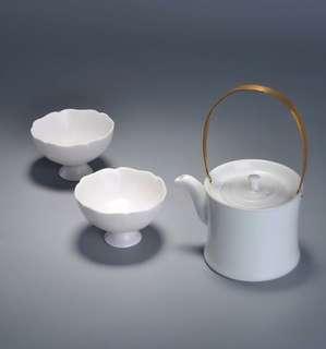 Porcelain tea set ( A pot with 2 lotus cup)