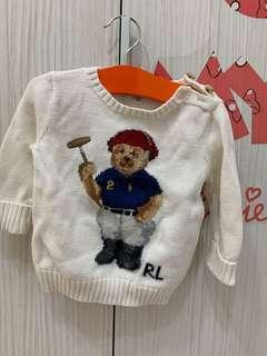 🚚 【Polo Ralph Lauren】RL 女寶寶 Polo大熊刺繡 針織毛衣 混羊毛勾針繡花針織毛衣 線衫 米白色