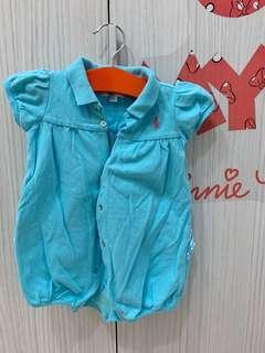 真品專櫃貨 Ralph Lauren /短袖粉藍連身衣/包屁衣 POLO 女寶寶9M💕💕