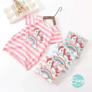 Kids Girls Unicorn Stripe Long Section Short Sleeve T-Shirt With Pocket