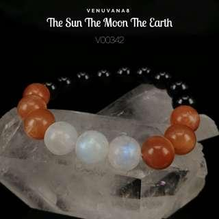 🚚 The Sun The Moon The Earth  Moonstone, Sunstone & Black Tourmaline (10mm bead) Bracelet - Develop our masculine & feminine energy to achieve our wholeness, completeness.