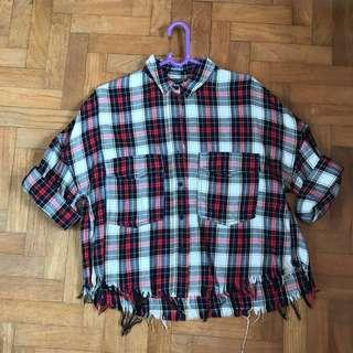 Red Checkered Frayed Flannel Top