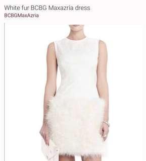 White fur BCBG dress