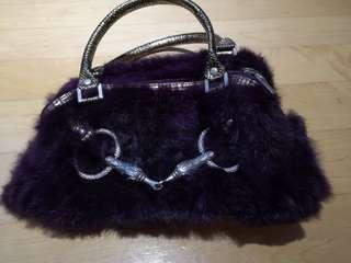 HK fashion bag purple fur gold handle