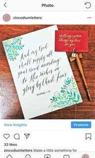 Christmas gift & present - Calligraphy service