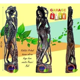 Ukiran Kayu Jati Kuno patung wanita penari versi Bali