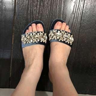 velvet embellished sandal / zalora sandal slide