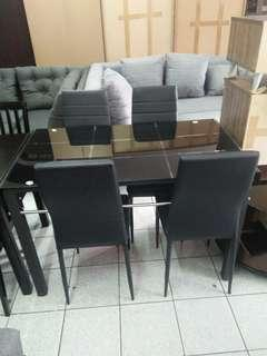4 seater dining table tempered glass