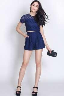 Fayth Stardust lace top and shorts SET in Navy
