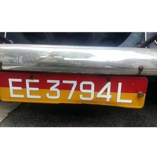 Auspicious number, Lucky Number, Prosperous number. Personalised Number, Personalized Number EE3794L  Carplate, Car Plate Car registration number VRN Car registration number
