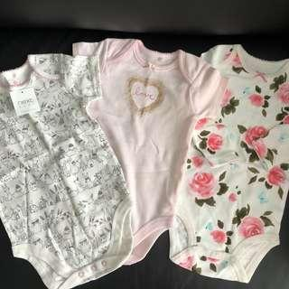 Lot of 3 Next and Carter's baby onesies