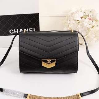 CHANEL bag Cowhide material trendy style bag