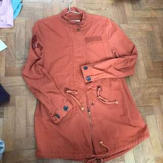 bershka khaki orange jacket parka