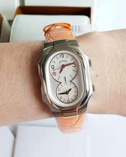PHILIP STEIN Signature Dual Time Size 1 SMALL Women's Watch 1-FRGMOP BRAND NEW Authentic!