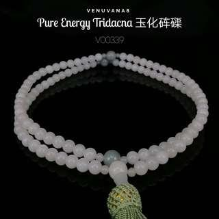 🚚 Pure Energy Tridacna 玉化砗磲 108 Prayer Bead with Jadiete - A Stone guides you into pure energy healing, calming effect on the mind. Jadiete is priceless, it is an invaluable stone that is being highly respected and admired since ancient time until today.