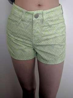 Rhythm - lime green and silver wave short shorts - AU 6