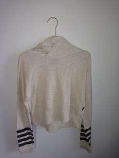 White hoodie jumper with black stripped sleeves