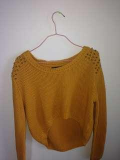 Mustard yellow studded croptop