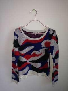 Black blue red white sweater