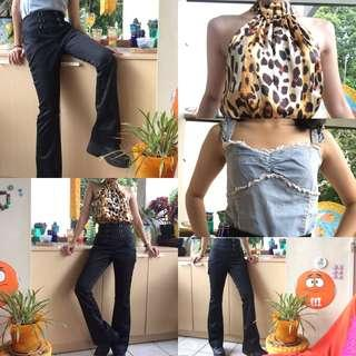 Cutbray hitam / black bell bottoms / flared pants, leopard top, and a denim top
