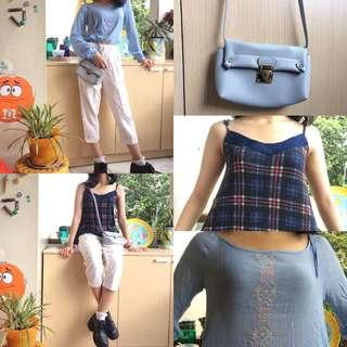 White pants / cullote / kulot, vintage tops, and a sling bag