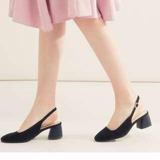 絨布細帶高粗跟鞋38(24) 只有一雙590含郵