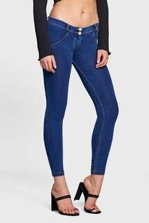 Freddy Jeans Medium Low Waist 7/8 Length WR.UP Denim - Dark Blue + Yellow Stitching