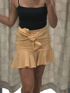 NEW yellow tartan checkered print linen mini tie up frills skirt